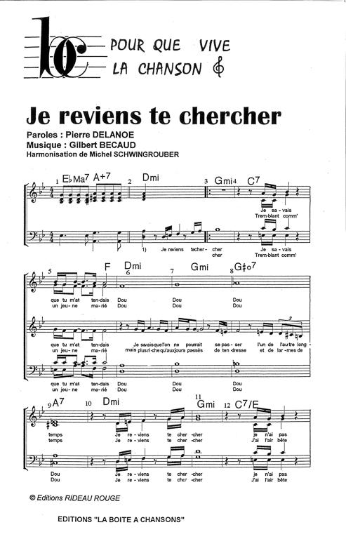 Chanson Je Reviens Te Chercher : chanson, reviens, chercher, Partition, Musique,, éditeur, Partitions, Chorale