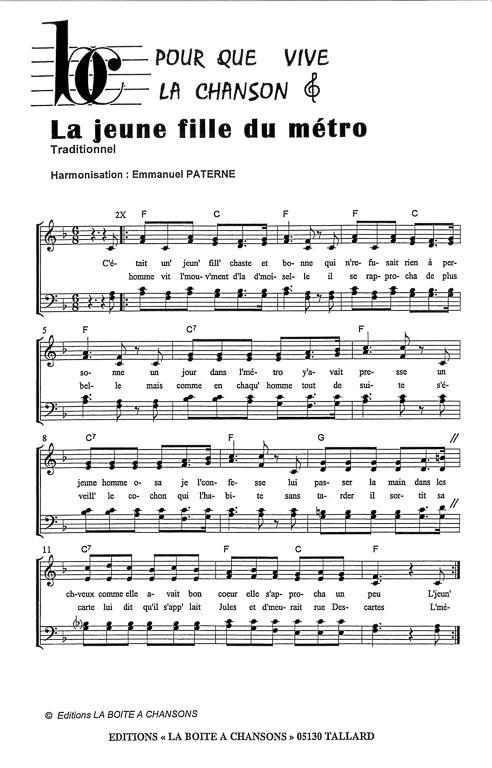 La Jeune Fille Du Metro : jeune, fille, metro, Partition, Musique,, éditeur, Partitions, Chorale