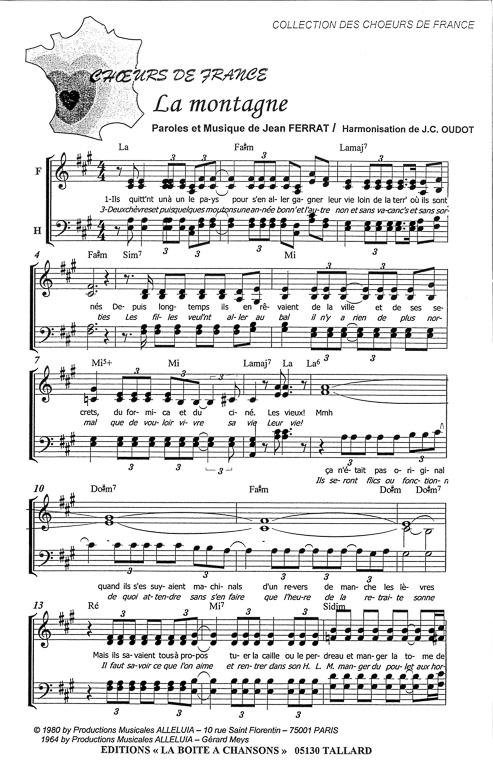 Jean Ferrat La Montagne Paroles : ferrat, montagne, paroles, Partition, Musique,, éditeur, Partitions, Chorale