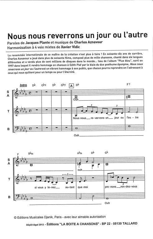 Nous Nous Reverrons Un Jour Ou L'autre : reverrons, l'autre, Partition, Musique,, éditeur, Partitions, Chorale