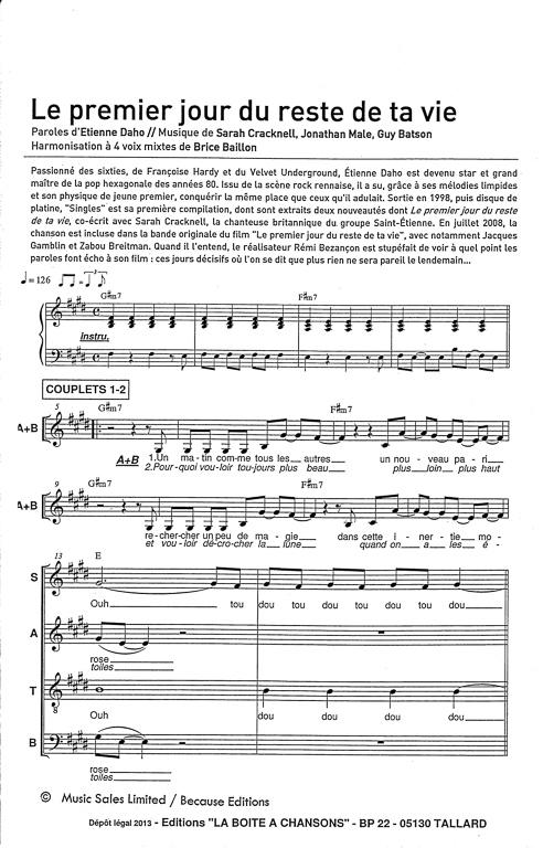 Paroles Le Premier Jour Du Reste De Ta Vie : paroles, premier, reste, Partition, Musique,, éditeur, Partitions, Chorale