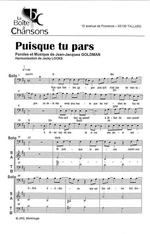Paroles Puisque Tu Pars : paroles, puisque, Partition, Piano, Puisque