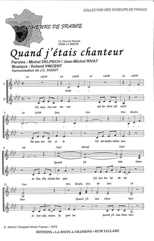 Quand J'étais Chanteur Michel Delpech : quand, j'étais, chanteur, michel, delpech, Partition, Piano, Quand, J'étais, Chanteur