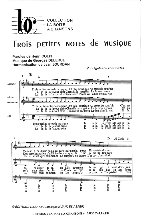 Trois Petites Notes De Musique Paroles : trois, petites, notes, musique, paroles, Partition, Piano, Petites, Notes, Musique