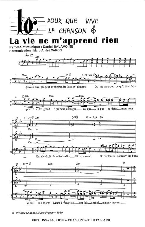 Parole La Vie Ne M'apprend Rien : parole, m'apprend, Partition, Musique,, éditeur, Partitions, Chorale