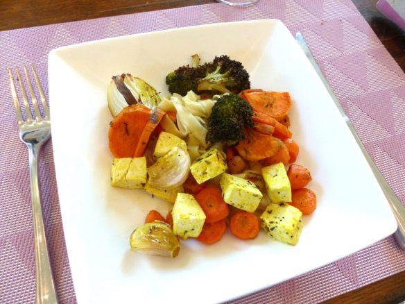 légumes rôtis et tofu mariné