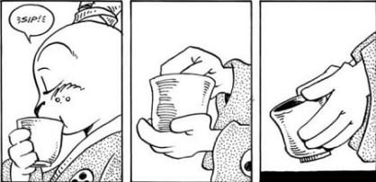 Le thé. Cases extraites de Usagi Yojimbo