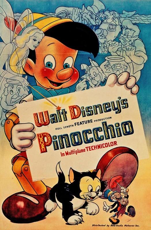 1940 Pinocchio Poster 524x800 Les affiches des 53 films Disney de 1937 à 2013 design cinema 2 art