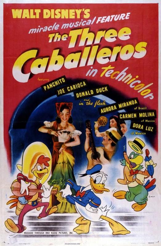 1945 The Three Caballeros Poster 523x800 Les affiches des 53 films Disney de 1937 à 2013 design cinema 2 art