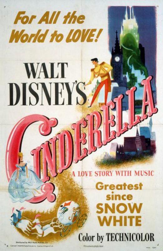 1950 Cinderella Poster 521x800 Les affiches des 53  films Disney de 1937 à 2013  design cinema 2 art