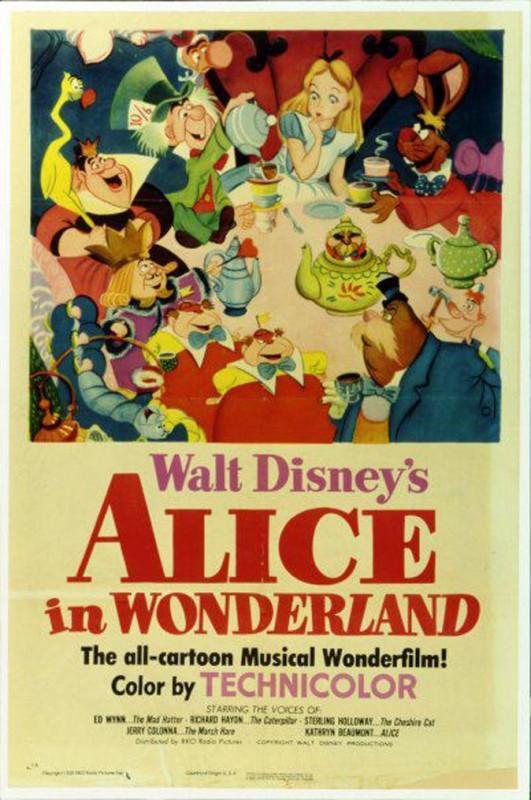 1951 Alice in Wonderland Poster 531x800 Les affiches des 53  films Disney de 1937 à 2013  design cinema 2 art