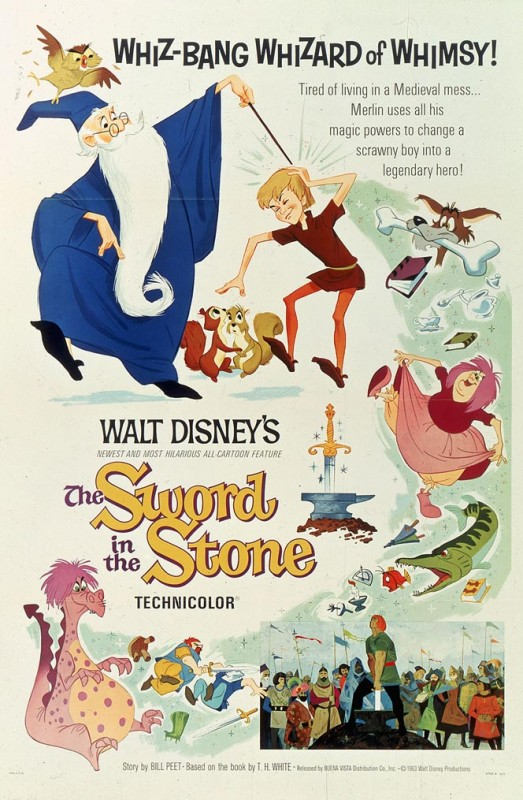 1963 The Sword in the Stone Poster 523x800 Les affiches des 53 films Disney de 1937 à 2013 design cinema 2 art
