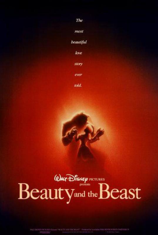 1991 Beauty and the Beast Poster 538x800 Les affiches des 53 films Disney de 1937 à 2013 design cinema 2 art
