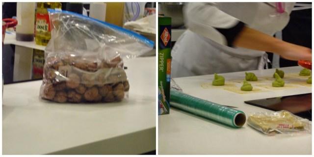 Albóndigas en bolsa y raviolis