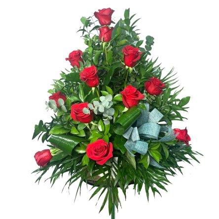 Centro flores 12 Rosas Rojas Freedom
