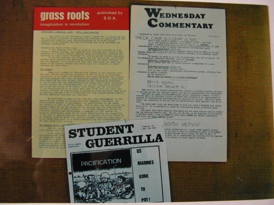 Grassroots (Students for Democratic Action, Adelaide University), n.d, 1969 Wednesday Commentary (Sydney University Labor Club), March 1969 Student Guerilla (Society for Democratic Action, University of Queensland), June 1968