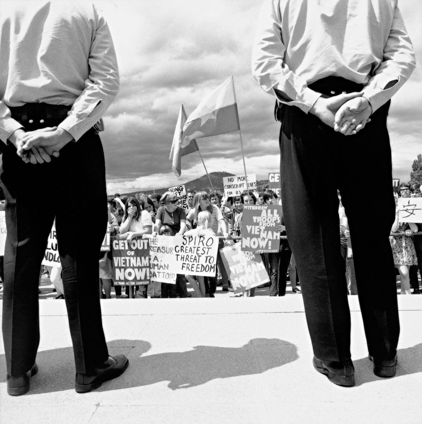A protest at Parliament House, Canberra, 14 January 1970, National Archives of Australia A1200, L85635.