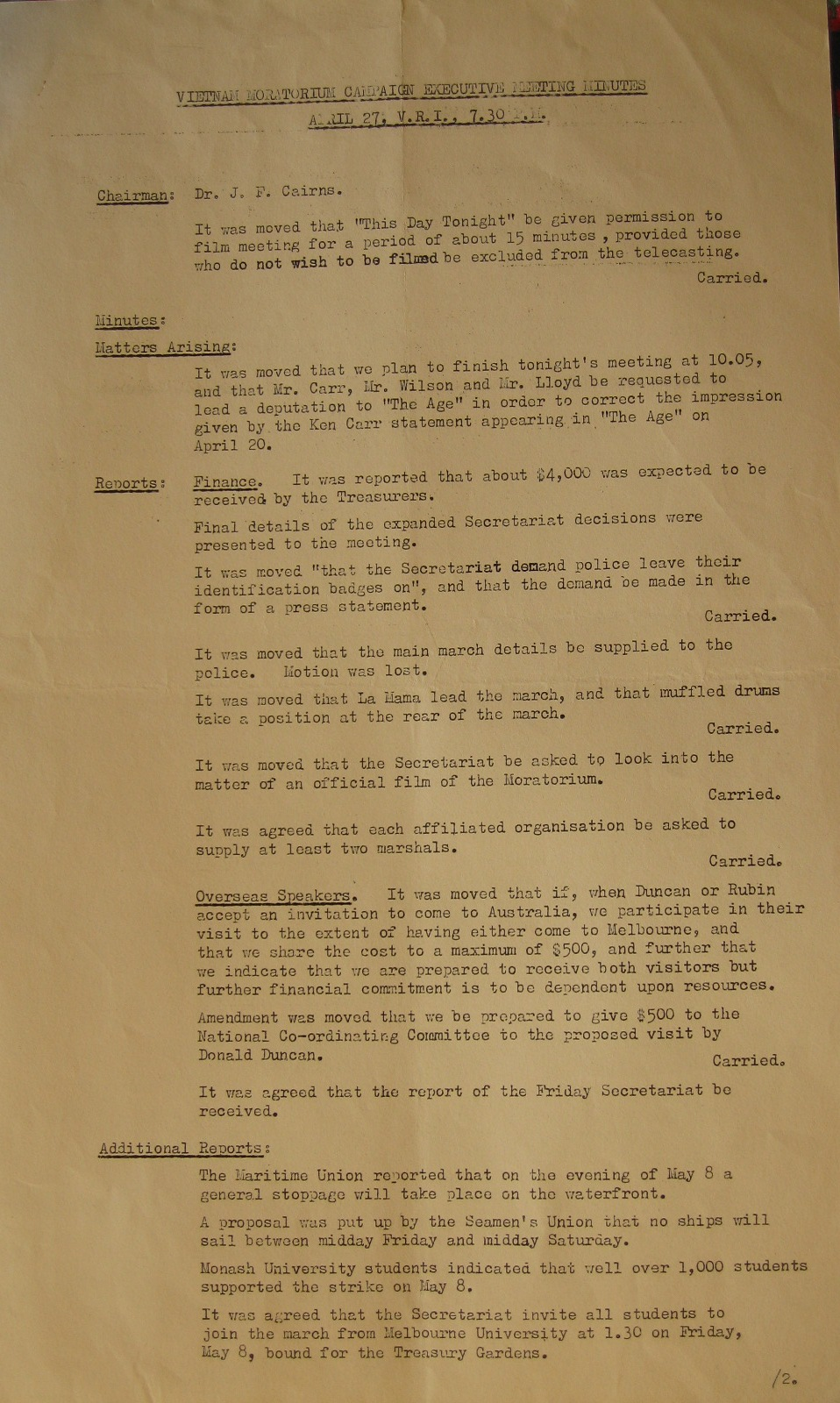 Vietnam Moratorium Campaign Executive Meeting Minutes 27 April 1970.