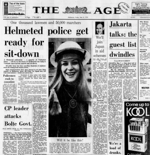 'Helmeted police get ready for sit-down', The Age, 8 May 1970, 1.