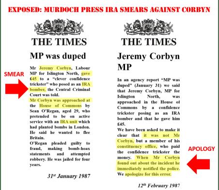 corbyn times IRA 2 retraction