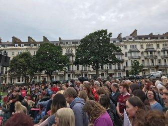 Crowds gathering in Hastings ready to hear Corbyn speak. (01/07/16)