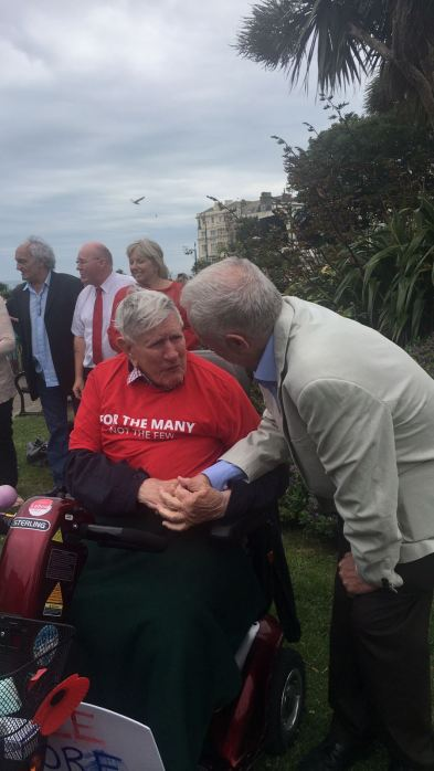 Corbyn meets Bill Stephens, RAF veteran, whose mum was a suffragetter-and a Labour member since 1945.