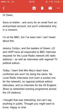 email to owen jones cons doing NO interviews at ALL