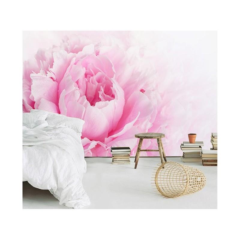 macrophotographie papier peint photo panoramique pivoine rose  Papier peint Sol 3D