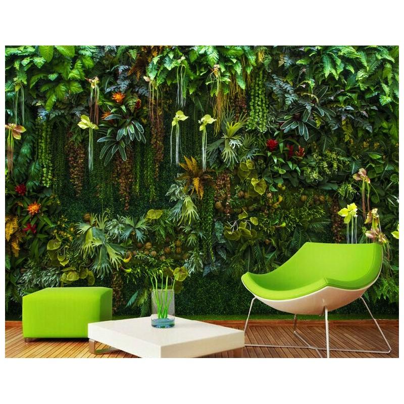 mur vgtal plantes tropicale papier peint personnalis vgtation de la jungle  Papier peint
