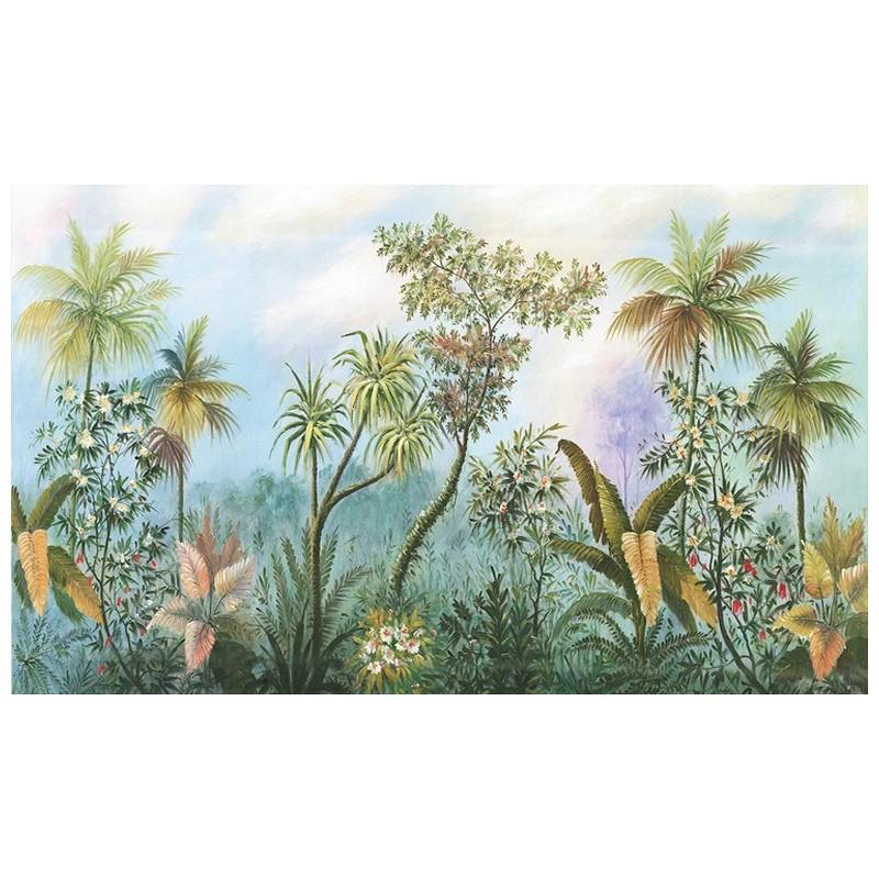 Dcoration murale jungle panoramique plante fleur tropicale  Papier peint Sol 3D