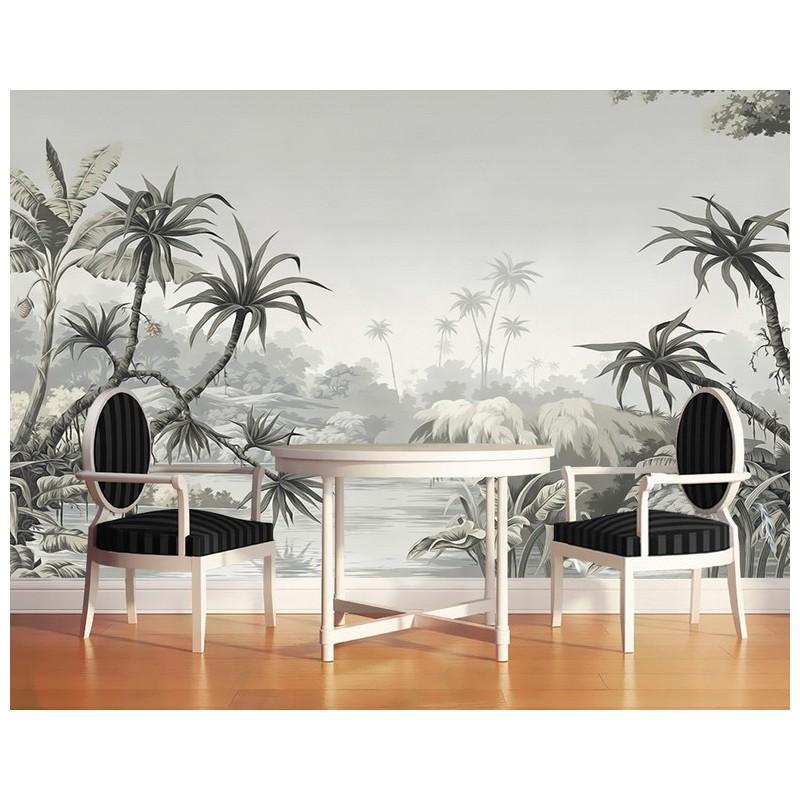 papier peint photo personnalise niveaux gris poster geant mural salon paysage de la jungle atelier wybo