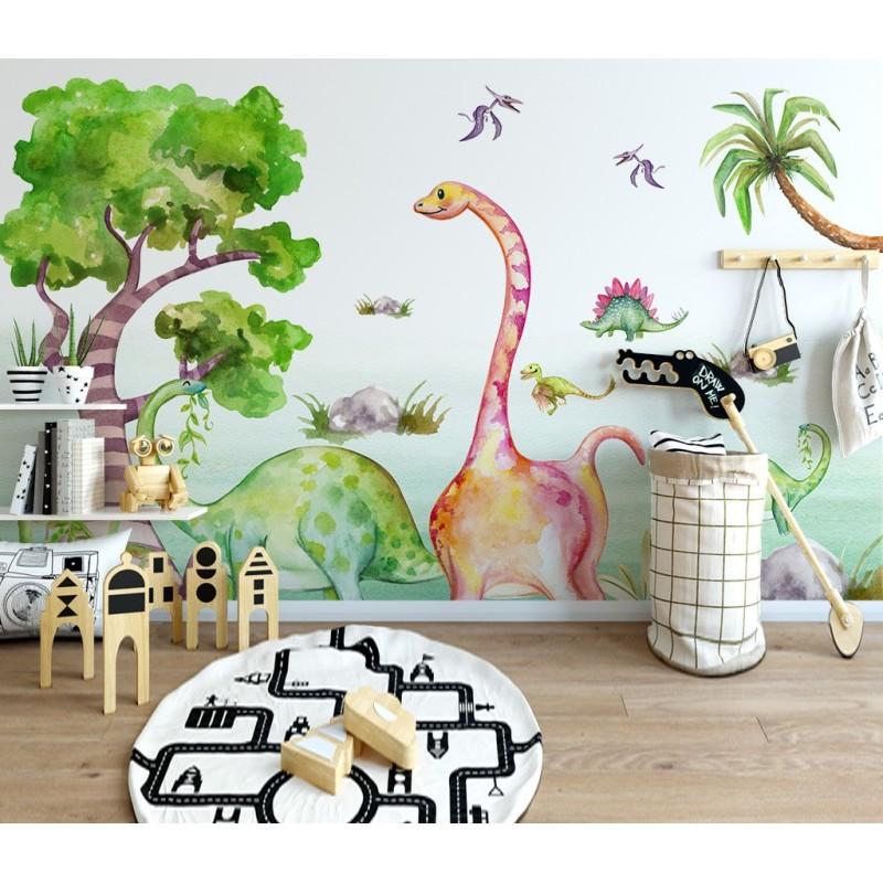 decoration chambre bebe enfant papier peint dinosaure poster geant xxl atelier wybo