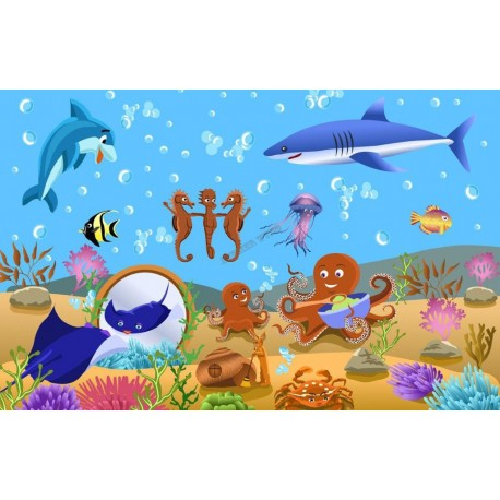 wallpaper ocean fishs papier peint fond marin personnalisable
