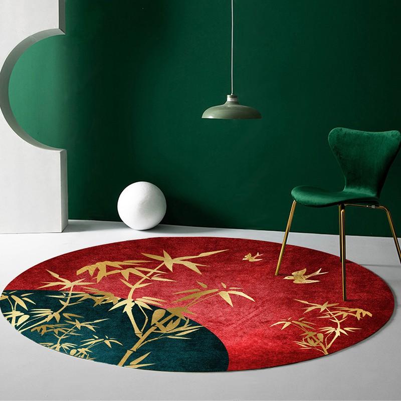 tapis japonais forme ronde bambous dores sur fond rouge vert atelier wybo