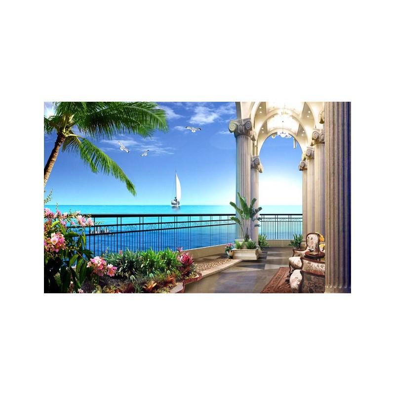 papier peint photo personnalis trompe loeil 3D paysage romantique vue mer depuis balcon