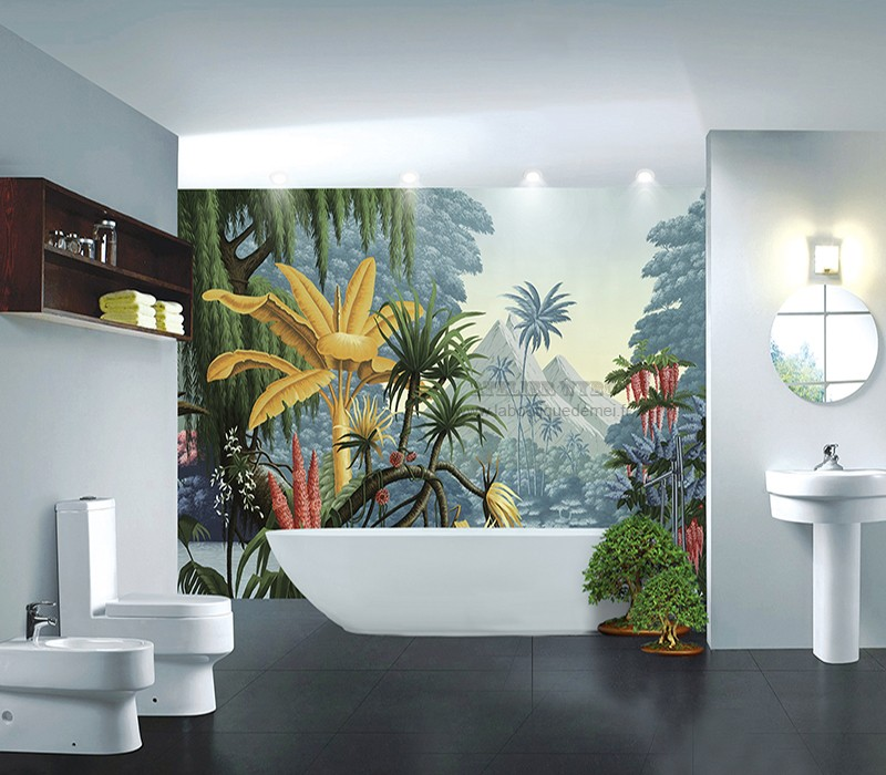 Decoration Salle De Bain Mur Baignoire Etanche Jungle Coloree Atelier Wybo