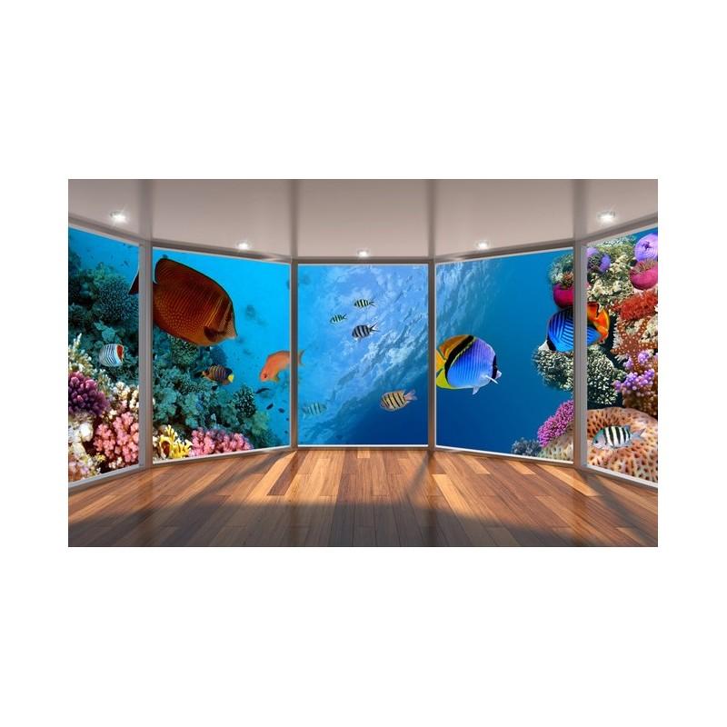 papier peint 3D personnalis paysage fond marin les coraux et les poissons  Papier peint Sol 3D
