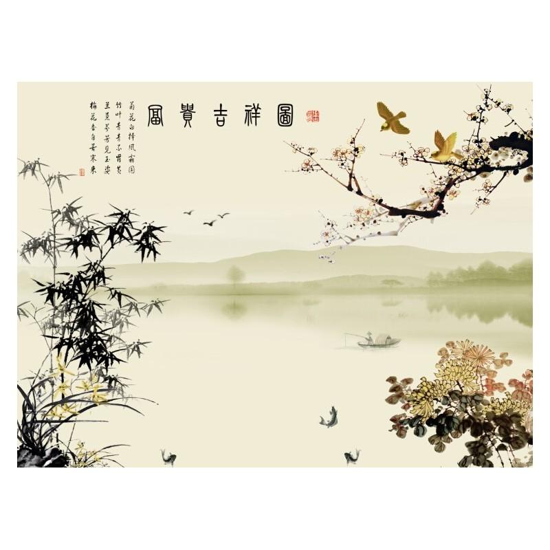 papier peint chinois tapisserie panoramique paysage avec le pome les fleurs et les bambous