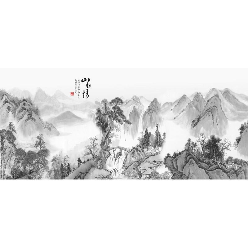 papier peint chinois noir et blanc tapisserie numerique paysage de la montagne avec chute d eau atelier wybo