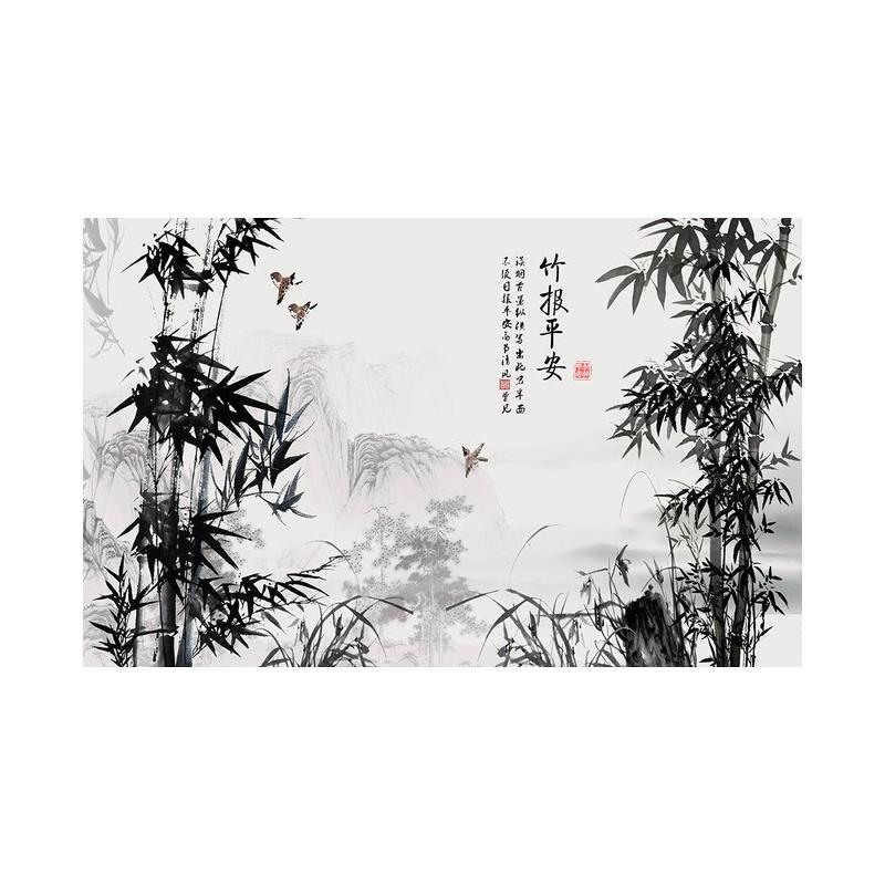 pinture  lencre de chine papier peint photo personnals paysage en noir et blanc les bambous