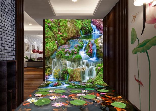 decor zen mur sol trompe l oeil 3d papier peint revetement sol sticker paysage de la cascade nenuphar poisson atelier wybo