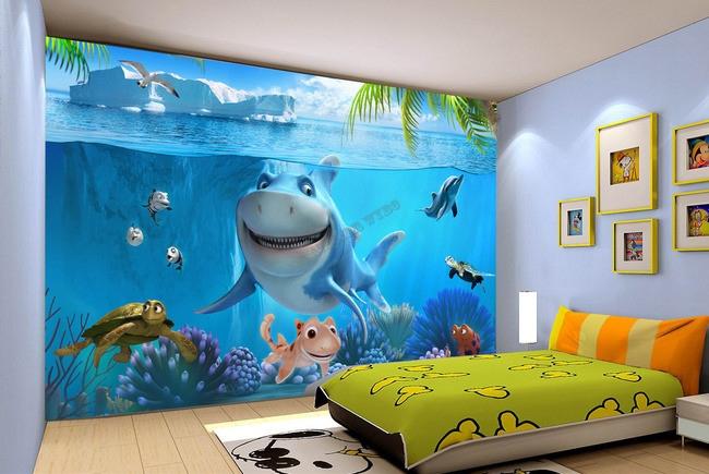 papier peint photo personnalise paysage fond marin pour enfant le requin et les tortues atelier wybo