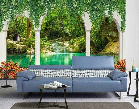 decoration interieur salle d attente papier peint photo trompe l œil sticker 3d chute d eau au bord du lac atelier wybo