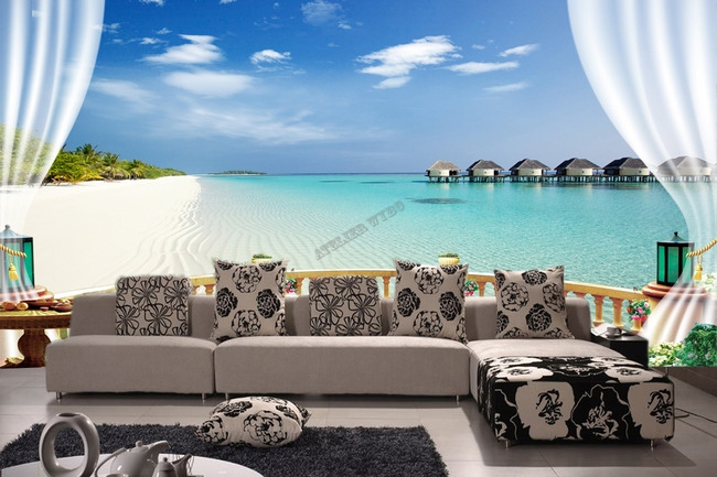 Poster gant mur trompe lil 3D paysage tropical Maldives