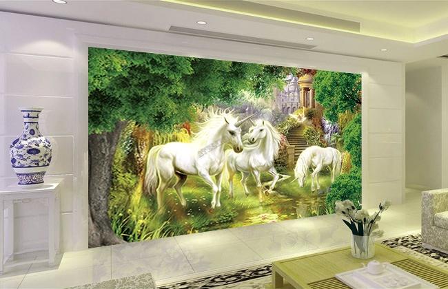 papier peint fantaisie sur mesure les licornes dans le jardin  Papier peint Sol 3D