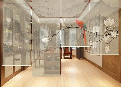 cloison japonaise toile enrouleur imprimee fleurs et oiseaux atelier wybo