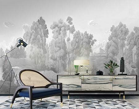 papier peint d artiste noir blanc gris paysage compagne atelier wybo