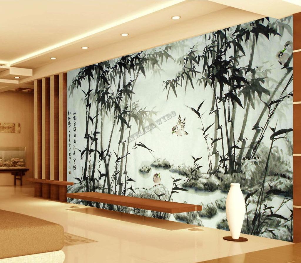 tapisserie numrique sur mesure style chinoispaysage avec bambous et oiseaux en noir et blanc