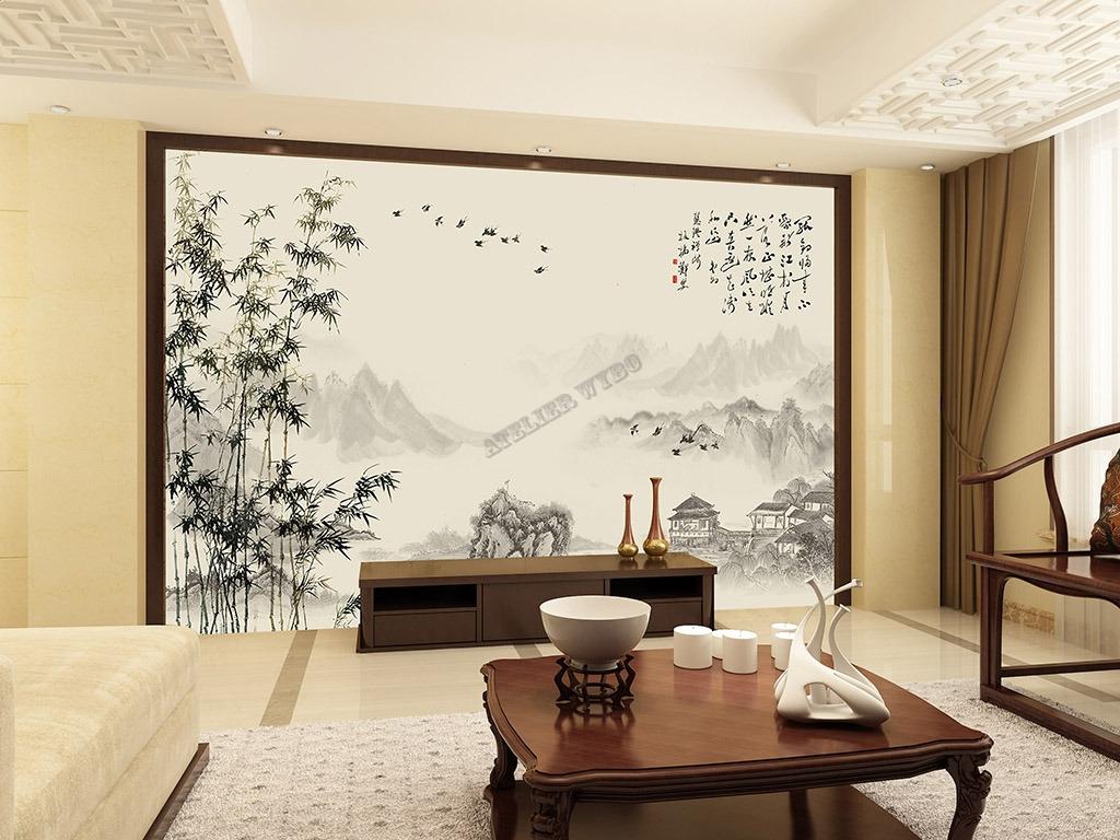papier peint chinois chinese wallpaper paysage avec les bambous etle pome  Papier peint Sol 3D