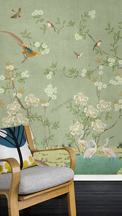 peinture asiatique vert zen fleurs et oiseaux sur mur en beton atelier wybo